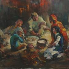 """Беркинбаев Рустем """"Поздний ужин"""", холст, акрил; руководитель: Чунчалинов А. К."""