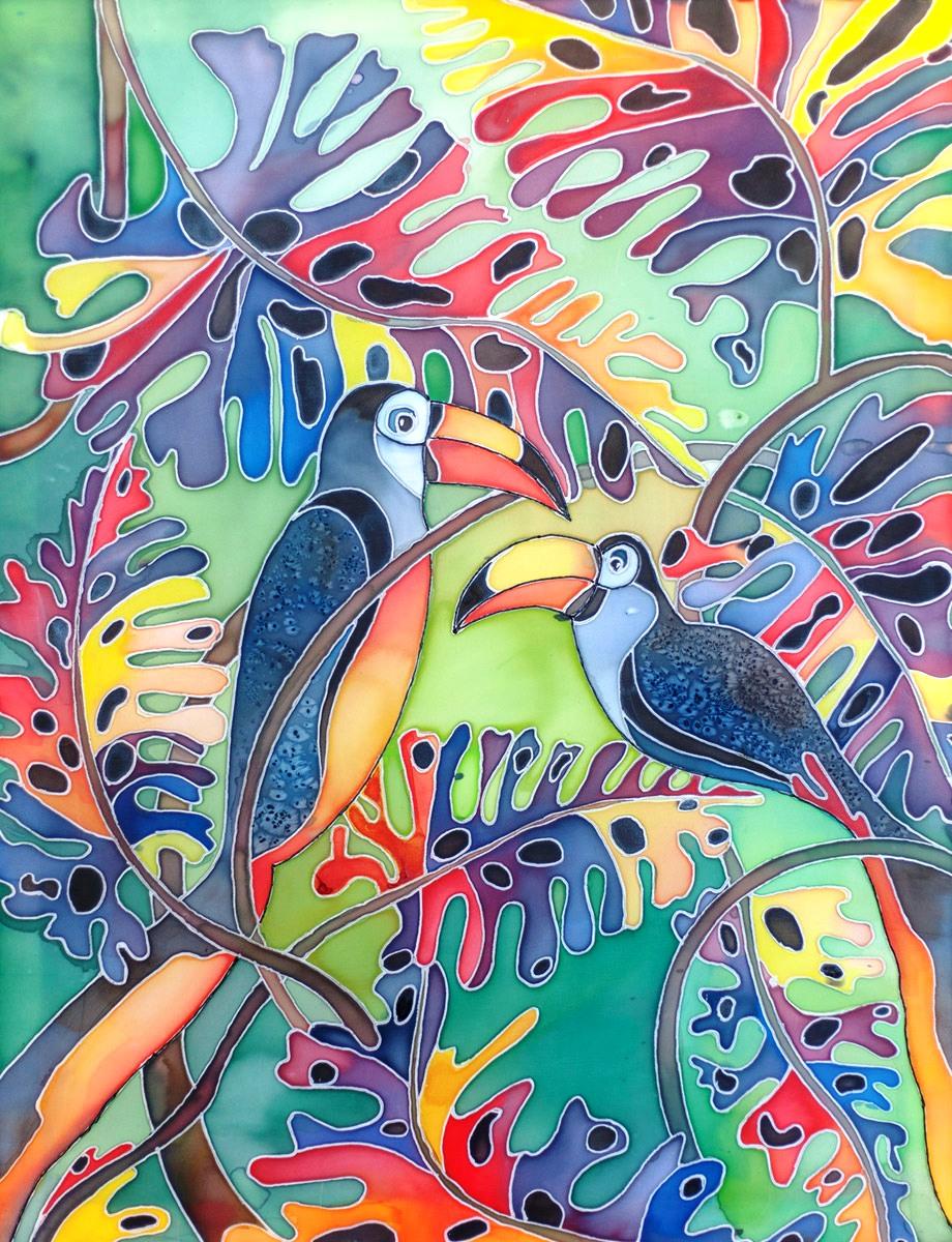 батик птицы тукан около